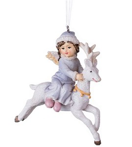 "Елочная игрушка ""Ангелок на олене"""