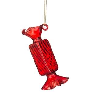 """Елочная игрушка """"Конфета"""" красная стеклянная"""