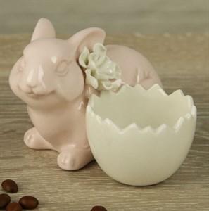 """Статуэтка-подставка для яйца  """"Пасхальный заяц"""" розовый"""