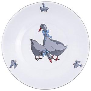 """Тарелка стеклянная """"Гусиное семейство"""" диаметр 19 см"""