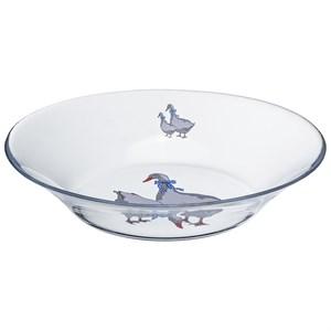 """Тарелка глубокая стеклянная """"Гусиное семейство"""" диаметр 22 см"""
