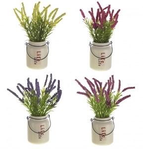 Цветок искусственный (лаванда) в ведерке в ассортименте
