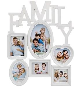 "Фоторамка на шесть фотографий ""Семья"" 18х11, 9х6, 9х8, 8х8 см"
