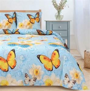 "Постельное бельё ""Бабочки"" 2 сп цвет бежевый: 175х215 см, 200х220 см, 70х70 - 2 шт, поплин"