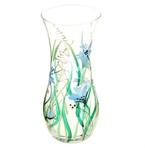 Ваза стеклянная голубые цветы высота 26 см