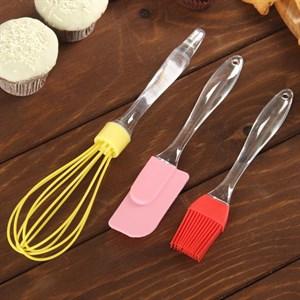 Набор для выпечки из лопатки, кисти и венчика, в ассортименте