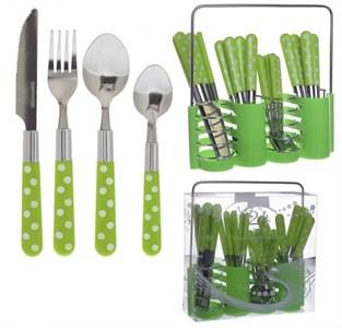 """Набор столовых приборов """"Зеленый горох: 6 ложек столовых, 6 ложек чайных, 6 вилок, 6 ножей"""