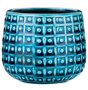 Кашпо керамическое бирюзовое высота 10 см