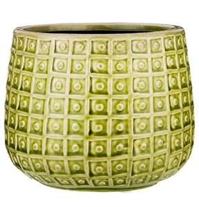 Кашпо керамическое зеленое высота 13 см