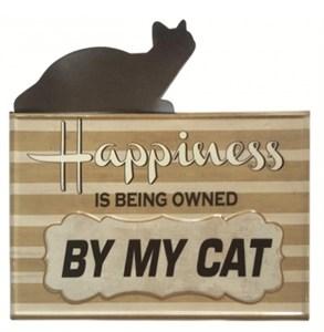 """Табличка металлическая """"Счастье иметь кота"""""""