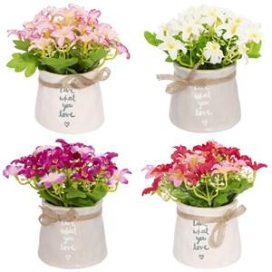 Цветок искусственный в кашпо в ассортименте, цена за 1 шт