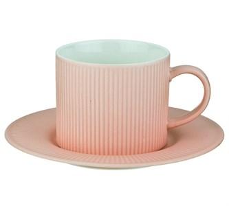 Кружка 280 мл с блюдцем розовая