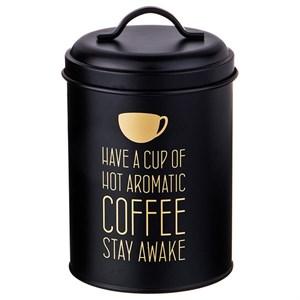 """Банка для хранения """"Кофе"""" металлическая 1100 мл черная"""