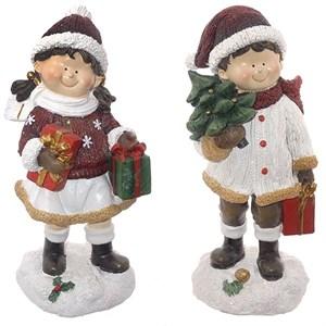 """Набор статуэток """"Дети с елкой и подарками"""" высота 20 см"""