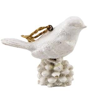"""Елочная игрушка """"Белая птица на шишке"""""""
