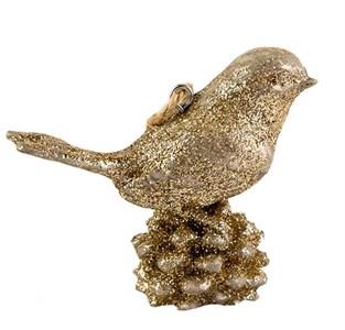 """Елочная игрушка """"Золотистая птица на шишке"""""""