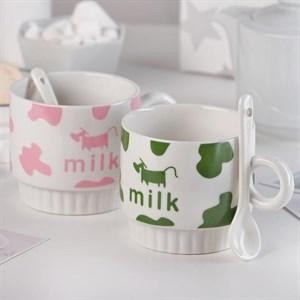"Кружка ""Молоко"" 250 мл с ложечкой в ассортименте, цена за 1 шт"