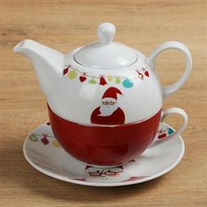 "Набор  ""Новогодний"": чайник 420 мл, чашка 240 мл с блюдцем"