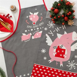 """Набор """"Свинки"""" из фартука и полотенца 64х40 см"""