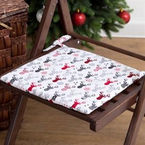 """Подушка на стул """"Новогодние олени"""" 32х32"""