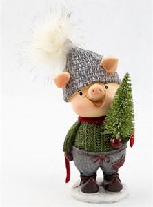 """Статуэтка """"Свинка с елкой в зеленом свитере"""""""