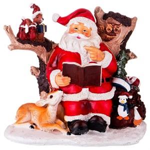 """Статуэтка """"Дед Мороз и лесные звери"""" высота 20 см"""