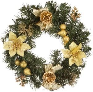 Венок новогодний с золотыми цветами, диаметр 25 см