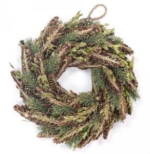Венок новогодний с натуральными шишками 26 см