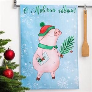 """Полотенце кухонное """"С Новым годом. Свинка в шапке"""" 34х58 см"""