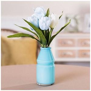 Искусственные тюльпаны голубые в бутылочке