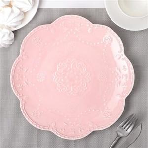 """Тарелка """"Кружево"""" розовая 27 см"""