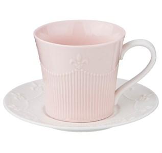Кружка 200 мл с блюдцем розовая