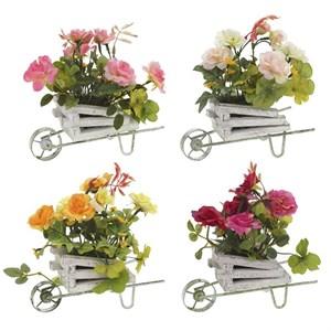 Цветы искусственные в тележке в ассортименте