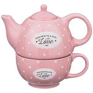 """Набор из чайника 330 мл и кружки 280 мл """"Горох"""" розовый"""