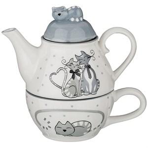 """Набор """"Влюбленные кошечки"""" из чайника 250 мл и кружки 190 мл"""