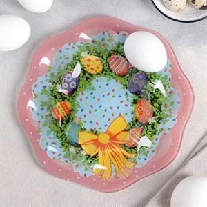 """Подставка стеклянная для яиц """"Пасхальный венок"""" на 8 ячеек"""