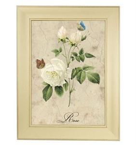 """Картина в раме """"Белая роза"""""""
