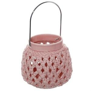 Подсвечник керамический с ручкой розовый