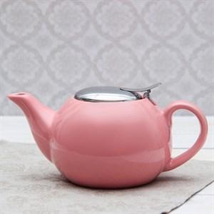 Чайник заварочный 600 мл с ситом розовый