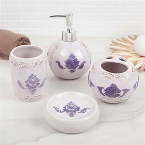 """Набор для ванной комнаты """"Фиолетовый рисунок"""""""