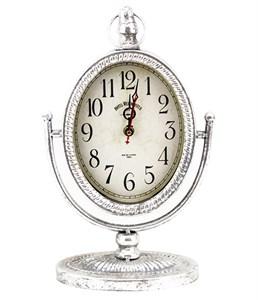 Часы настольные серебристые