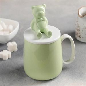 """Кружка """"Медведь"""" 400 мл крышкой зеленая"""