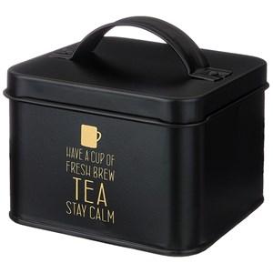 Шкатулка для чайных пакетиков металлическая черная