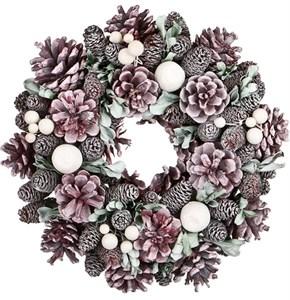 Венок декоративный новогодний из натуральных шишек диаметр 23 см