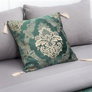 Наволочка декоративная с кисточками 40х40 см зеленая
