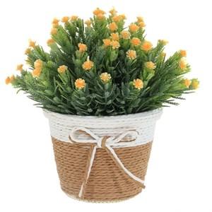 Цветок искусственный в вязанном кашпо, цена за штуку