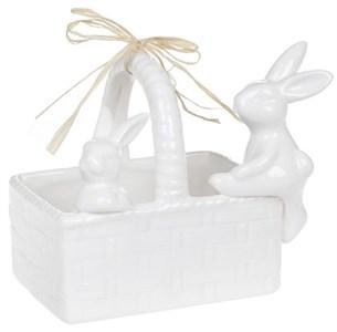 Корзинка керамическая с кроликами