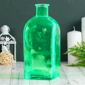 Ваза-бутылка стеклянная зеленая