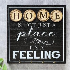 """Панно """"Дом - это не просто место, это чувство"""" с крючками"""