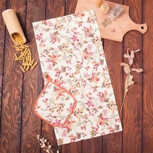 """Набор """"Цветочный узор"""" и полотенца и прихватки"""